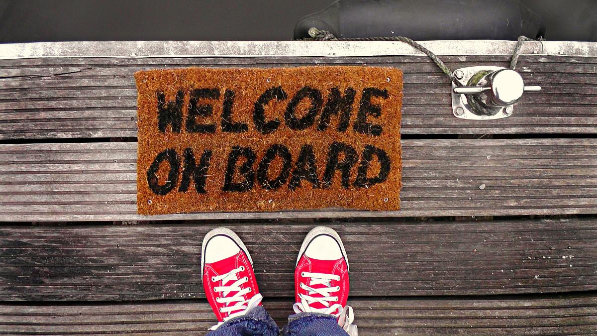 ung välkommen ombord skor matta första jobbet