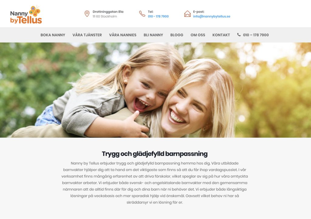 Nanny by Tellus hemsida barnvakt barnpassning